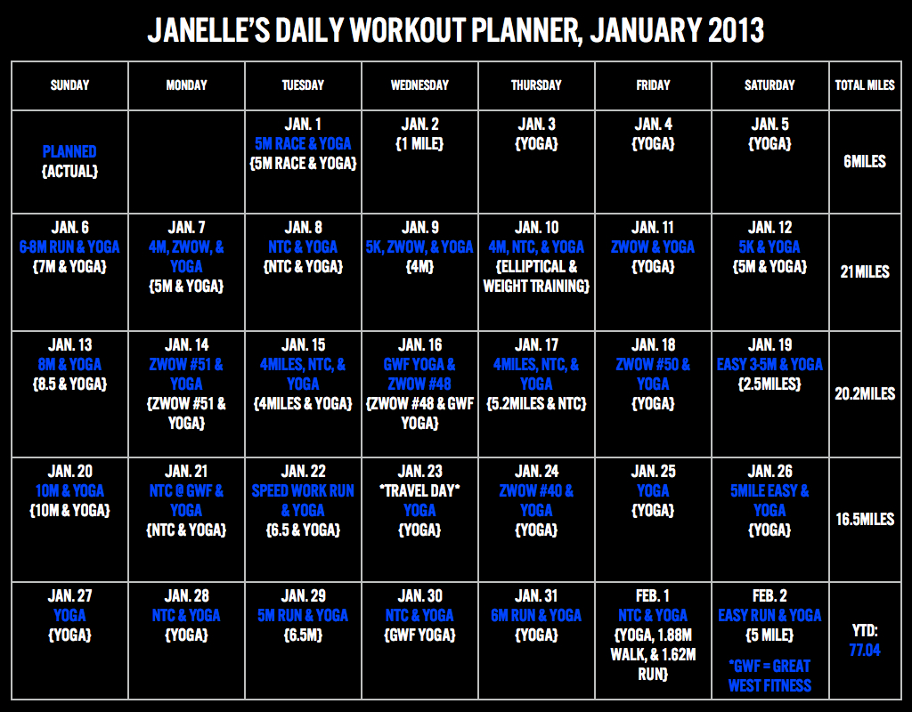 Workout Planner, Jan 13.001